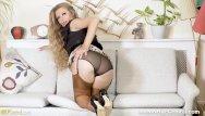 Nylon stockings heels foreplay sex Perky blonde michelle moist finger fucks tight pussy in stocking tops heels