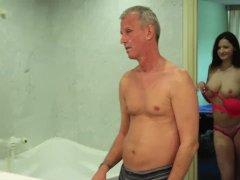 Busty Teenager Blow Elder Man Rod In The Bathtub