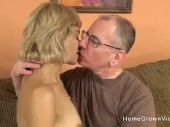 Young Blonde Slut With A Tight Body Fucks An Older Man