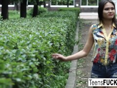 Cute Aleksandra Meets Him In The Park For Creampie Fun