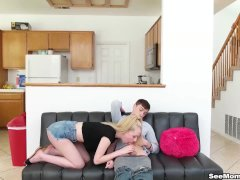 Taboo Step-daughter + Mommy Equals Outstanding Blowjob