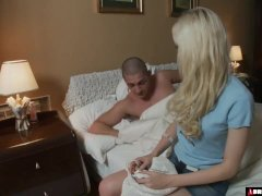 Blonde Beauty Waking Her Man For An Anal Quickie