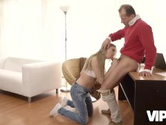 VIP4K. Old gentleman is glad to see an adorable babe in his house