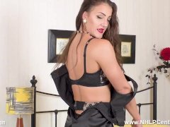 Big Tits Brunette Cleo Summers Fingers Hard In Stockings And Stilettos