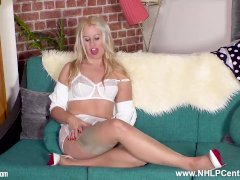 Hot Blonde Housewife Masie Dee Strips Off Lingerie Fingers Fluffy Wet Pussy