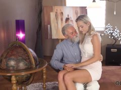 OLD4K. Kind grey-haired teacher makes sweet love to tender creature Shanie