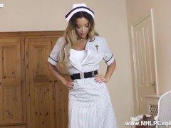 Sexy Nurse Natalia Forrest Peels Off Uniform Masturbates In Nylons Heels