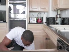 BLACK4K. Man comes to fix kitchen plumbing but bangs white pussy