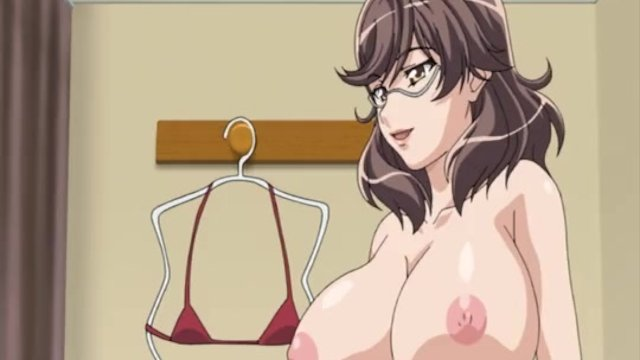 Huge titted hentai brunette gives head