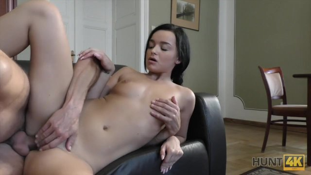 HUNT4K. Cuckold let another guy penetrate his GF all over black sofa