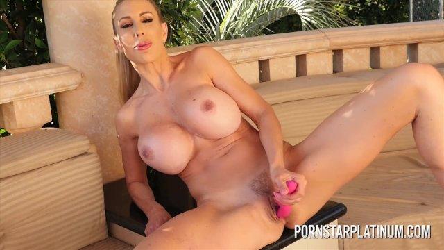 Big tit blonde Puma Swede masturbates on the balcony