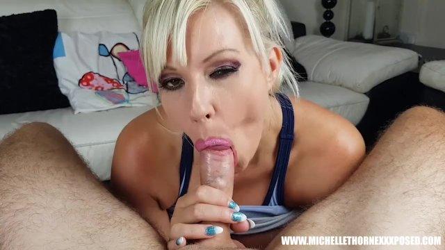 Blonde slut Michelle Thorne fucks big cock stranger after jogging outdoors