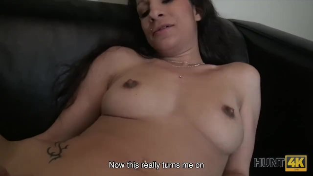 HUNT4K. Busty brunette gets her shaved cunt fucked for cash