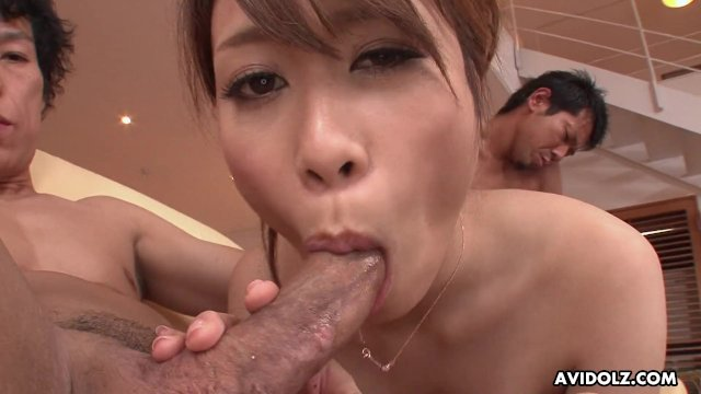 Japanese babe  Rika Aiba likes it with two men  uncensored