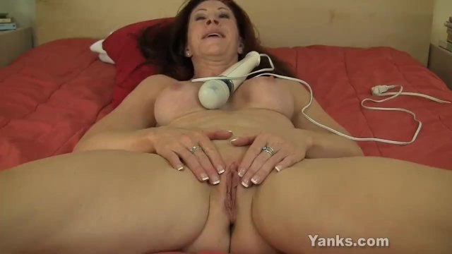 Chesty MILF Catherine Vibrating Her Pussy