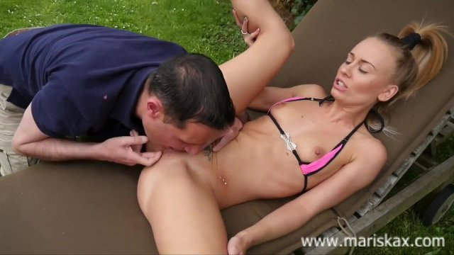 MARISKAX Petite blonde Carmel Anderson fucked outdoors