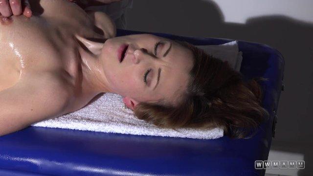 Hot blonde babe on massage