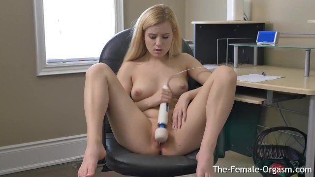 Hot Blonde Gets Horny In Office And Masturbates To Twat Twitching Orgasm