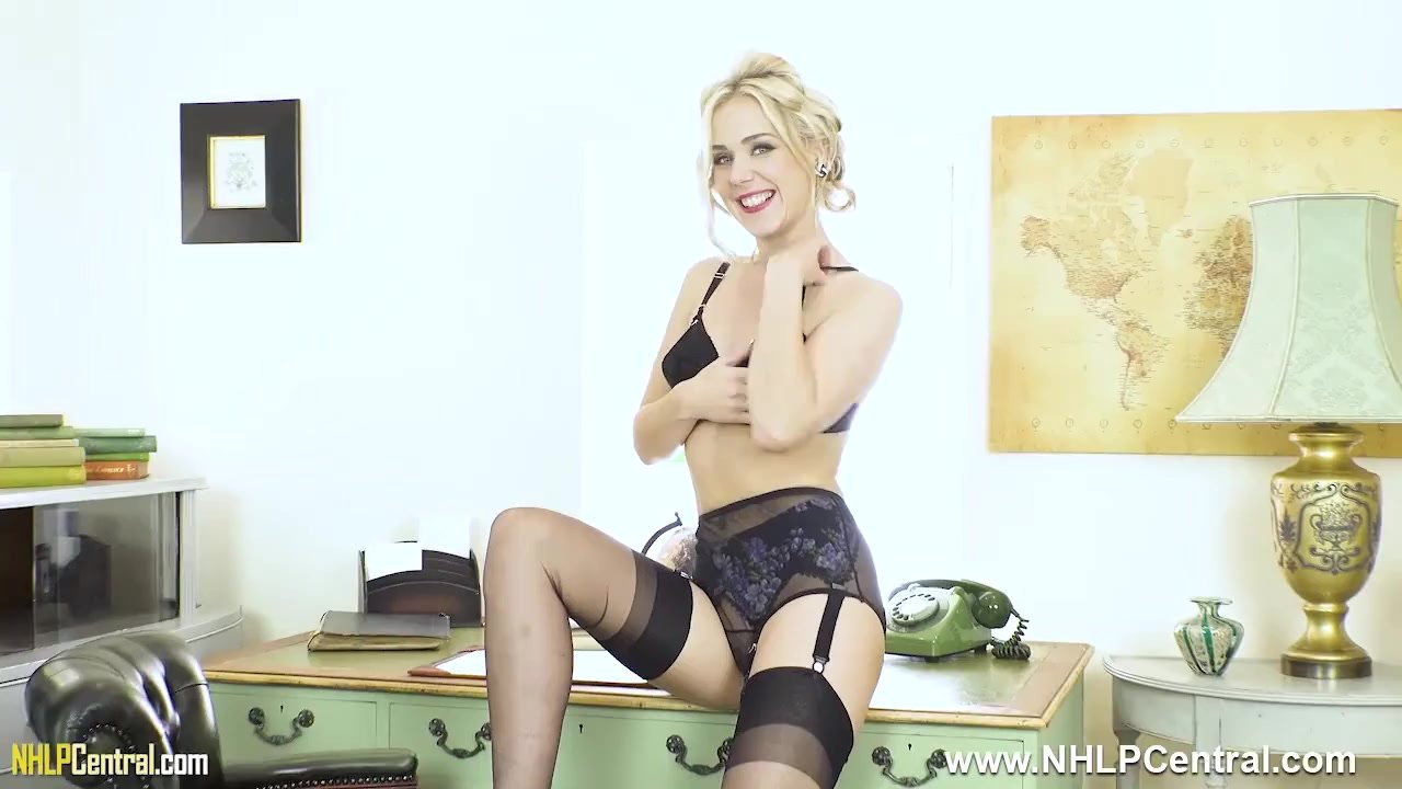 Office babe Aston Wilde strips off retro lingerie wanks off in nylons heels