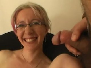 Horny housewife gets huge facial
