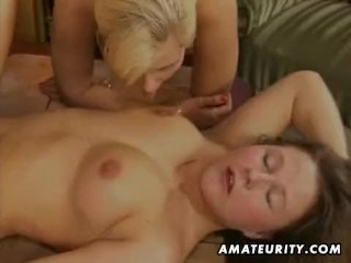 Amateur threesome with toys blowjob and fuck