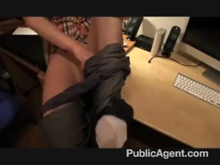 Blonde with glasses fucking on my office desk