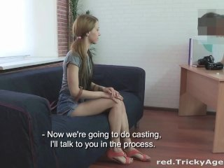 A skinny redhead is eager to be fucked