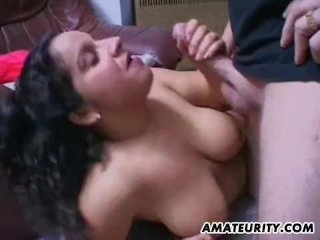 Chubby and busty amateur MILF takes a facial