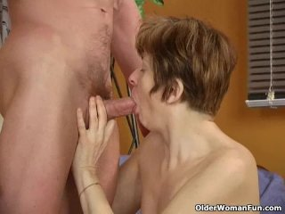 Long nippled granny sucks cock