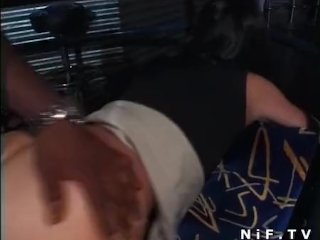 French brunette gets a black dick in her ass
