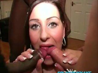 Chunky UK pornstar Dani bukkake party facials