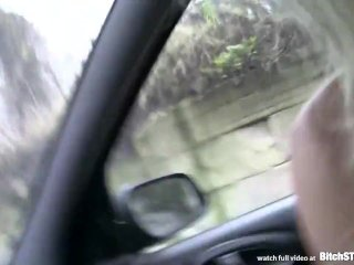 Bitch STOP – Blonde Czech MILF fucked in car