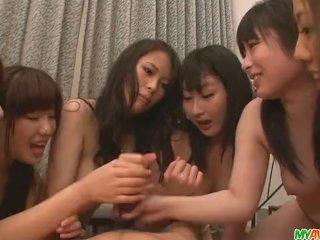 Three horny chicks give an asian pov blowjob