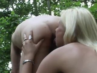 Busty blonde rimming ass and sucking hardon