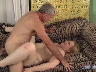 Blonde plumper Ilena Kuryakin rides on a fat