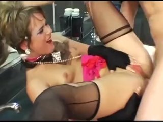 Glamour babe Claire fucking in ripped nylon