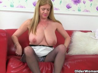 British milf Lily can't hide her nylon fetish