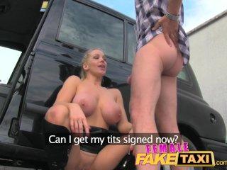 FemaleFakeTaxi Driver swallows actor's cum