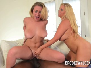 Mom and Step Daughter Take Turns w Black Cock