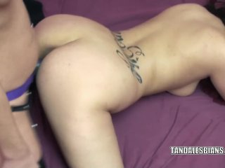 Cristal takes a strap-on from busty Lavender