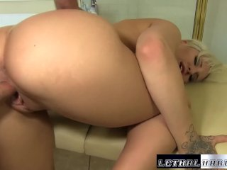 Teen blonde Dylan Phoenix gets massage and fu