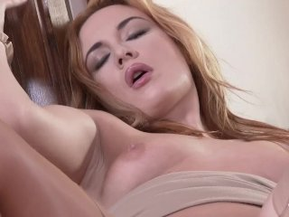 Lovely redhead loving her pussy and feet