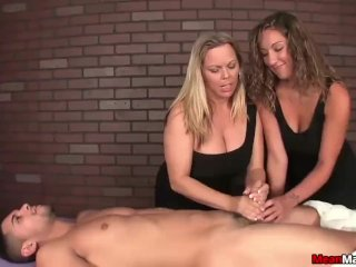 Two ossy ladies tag-team a poor man