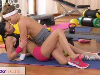 FitnessRooms Two Lesbian Gym partners workout and then make out