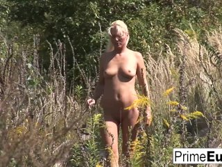 Surreal group sex with a blonde European babe