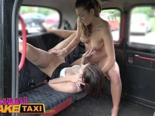 Female Fake Taxi Naughty hot cabbie makes lesbian horny cop cum