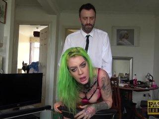 Tattooed slut with green hair gets her sweet ass slammed