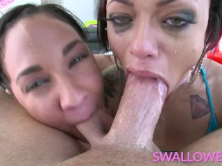 SWALLOWED Double throat fuck with Amara and Holly