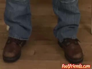 Brazilian muscle plays with his feet