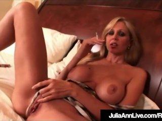 Gorgeous Milf Julia Ann Sucks On Cig & Masturbates In Bed!